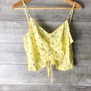 PacSun La hearts yellow floral ruched crop top
